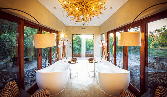 Sabi Sabi Bush Lodge luxury villa bathroom.